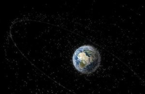 Debris objects in orbit around Earth.