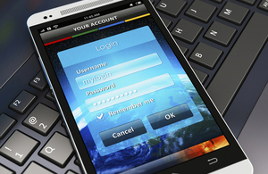 Login screen on phone