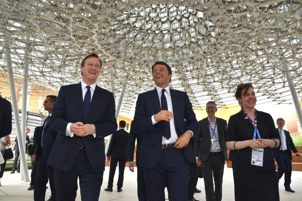 UK Prime Minister David Cameron visiting the UK Pavilion at Milan Expo on UK National Day