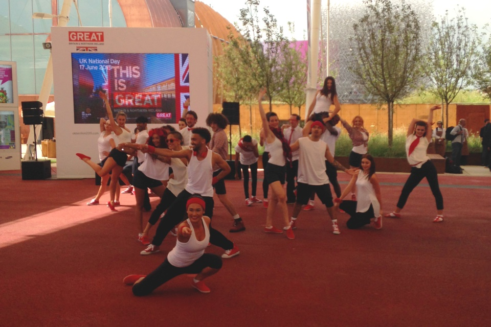 Dance entertainment at the UK Pavilion on National Day