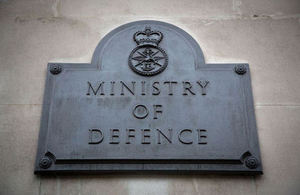 Ministry of Defence plaque outside the South Door