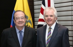 Carlos Abad Ortiz, new Ecuadorean Ambassador to the UK and Patrick Mullee, British Ambassador to Quito