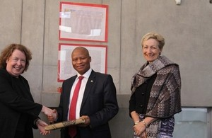 Mrs Justice McGowan, Chief Justice Mogoeng Mogoeng and High Commissioner to South Africa Judith Macgregor
