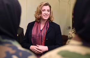 Armed Forces Minister Penny Mordaunt meeting new female officers at ANAOA.
