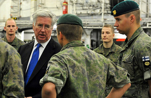 Defence Secretary Fallon meets troops on board HMS Ocean