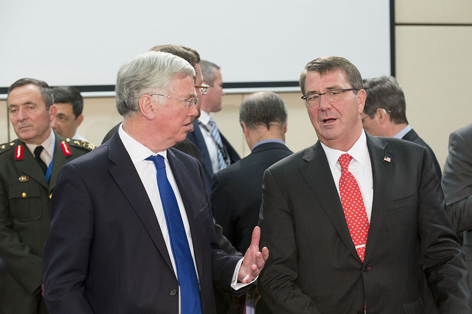 Defence Secretary Michael Fallon with US Defence Secretary Ash Carter