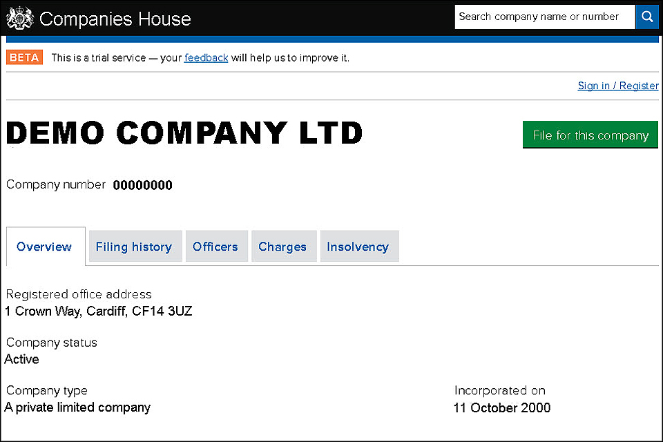 Screen grab of company details page