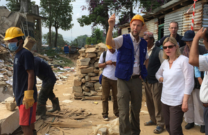 Justine Greening sees earthquake damage in Nepal. Picture: Zoe Paxton/DFID