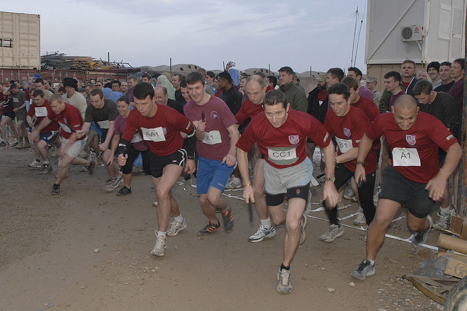 The start of the half-marathon relay race at Headquarters Task Force Helmand in Lashkar Gah