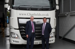 DVSA Chief Executive Alastair Peoples and Chatfields PLC Franchise Director Wayne Edwards