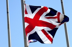 Union flag being lowered