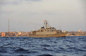 HMS Bangor off the port of Tobruk in eastern Libya
