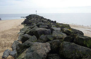 Rock groynes on Clacton beach