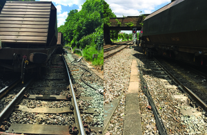 Images showing derailed vehicles at Angerstein junction (courtesy of Network Rail)