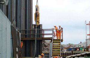 Work taking place on the defences in Great Yarmouth