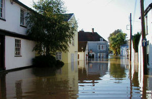 Flooded houses in Coggeshall