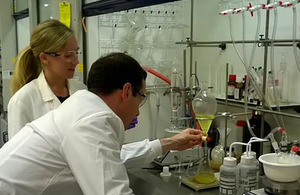 Chancellor in a lab at Redx Pharma in Cheshire