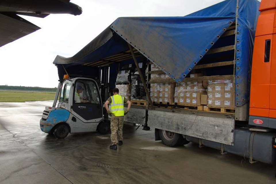 Cargo being unloaded in Ukraine