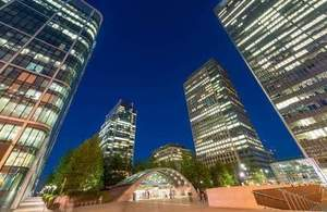 Night view of Canary Wharf buildings, London