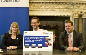 Heléna Herklots, Richard Heaton and Rob Wilson with the pledge.