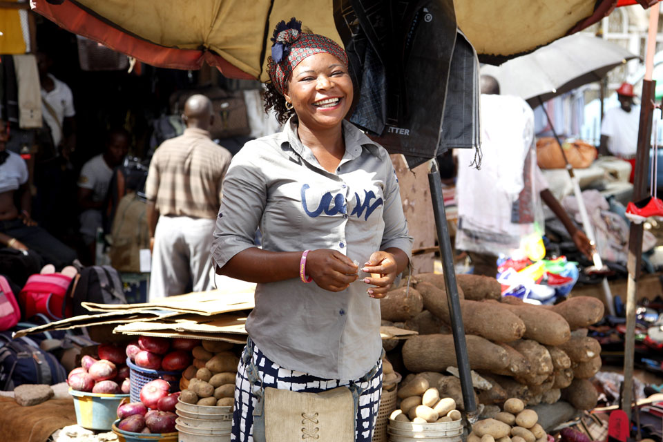 Photograph of a market trader
