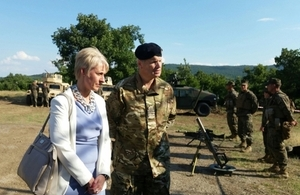 Ambassador Emma Hopkins and the UK Defence Attaché Captain Richard Blackwell attended a demonstration of the PLATINUM LION 15-3 exercise in Novo Selo