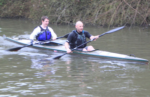 Royal Marines Captain Jon White and Colour Sergeant Lee John Waters taking part in the Devizes to Westminster International Canoe Race