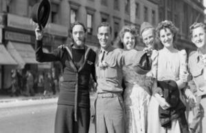 Revellers celebrate VJ Day in August 1945