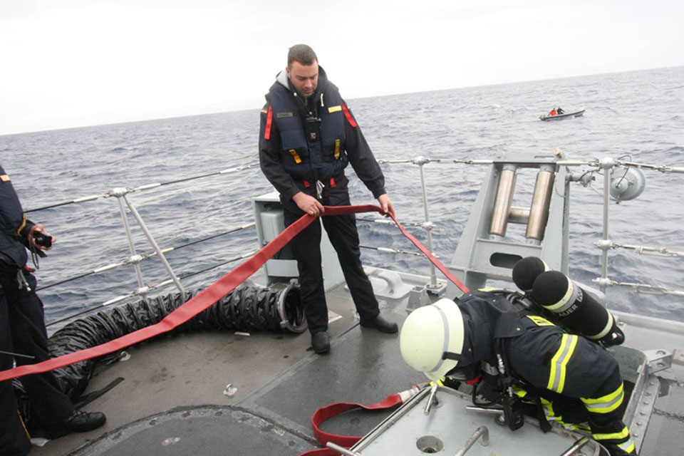 Firefighting exercise on HMS Blyth