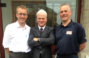 Medic Paul Holmes (l) and firefighter Martyn Ferguson (r) with Desmond Swayne at Mercy Corps' Edinburgh office. Picture: Jessica Seldon/DFID