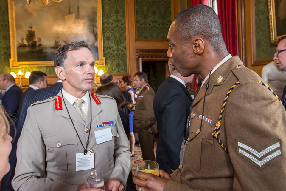 Chief of Defence People, Lieutenant General Andrew Gregory with Corporal Emmanuel Ottih from 2 Medical Regiment.