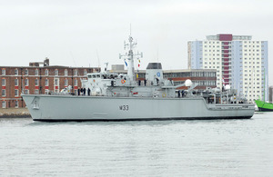 HMS Brocklesby departing from Portsmouth