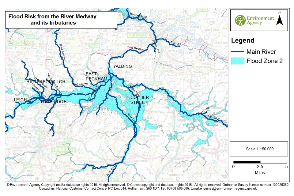 Flood risk from the River Medway and its tributaries.