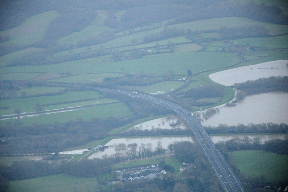 Aerial view of Leigh Flood Storage Area Christmas 2013.