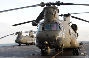 Chinook helicopters onboard HMS Bulwark