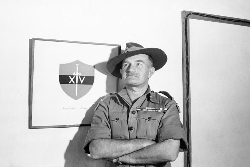 Lieutenant General William 'Bill' Slim and the Fourteenth Army's insignia