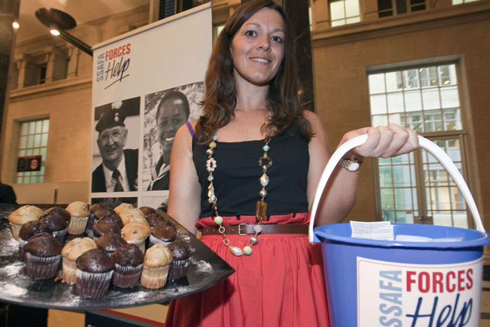 SSAFA tea lady Laurena Dibello appreciated the tremendous support shown by MOD Main Building staff