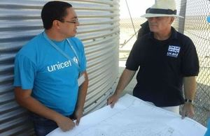 UK's Minister of State for International Development Desmond Swayne in Azraq Camp.