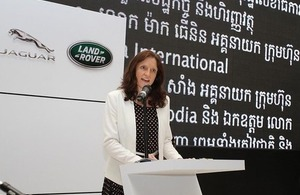 Dr Bryony Mathew, Chargée D'Affaires, speaks at Grand Opening of Jaguar Land Rover Facility in Phnom Penh