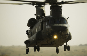 A Royal Air Force Chinook helicopter lifts off during pre-deployment training for operations in Afghanistan (stock image)