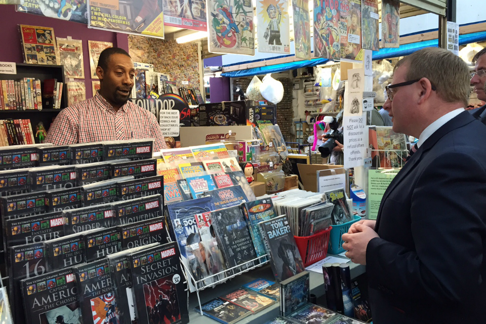 Marcus Jones at Rudie's Comix stall at Plymouth City Market