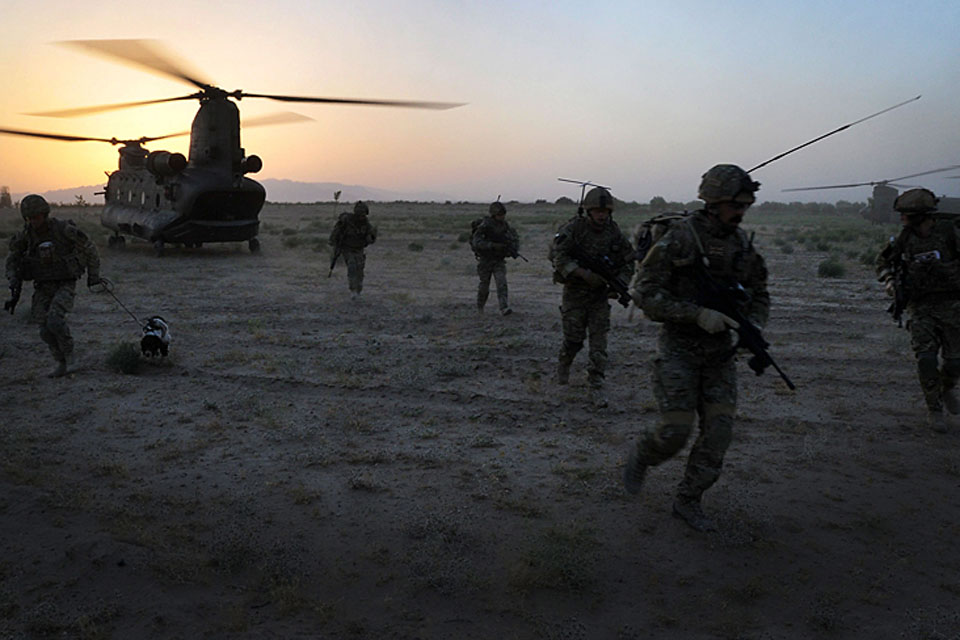 A Royal Air Force Chinook inserts Royal Marines of the Brigade Reconnaissance Force during an operation in Helmand province, southern Afghanistan, in May 2011 (stock image)