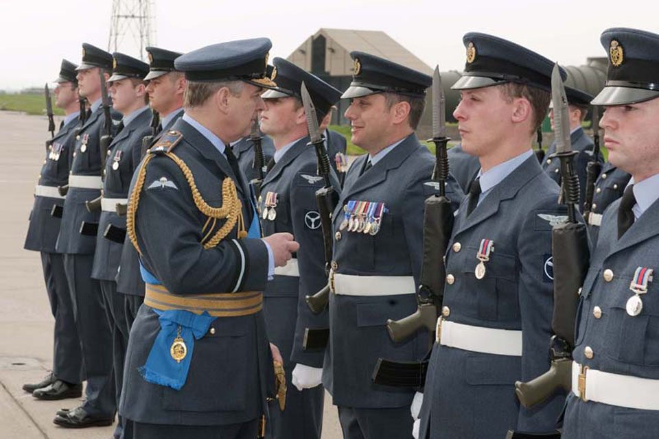 His Royal Highness The Duke of York, Honorary Air Commodore of RAF Lossiemouth, inspects airmen of 14 Squadron at RAF Lossiemouth