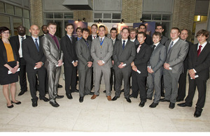 Group shot of the apprentice Tom Nevard Memorial Competition entrants at the Ministry of Defence Main Building in London