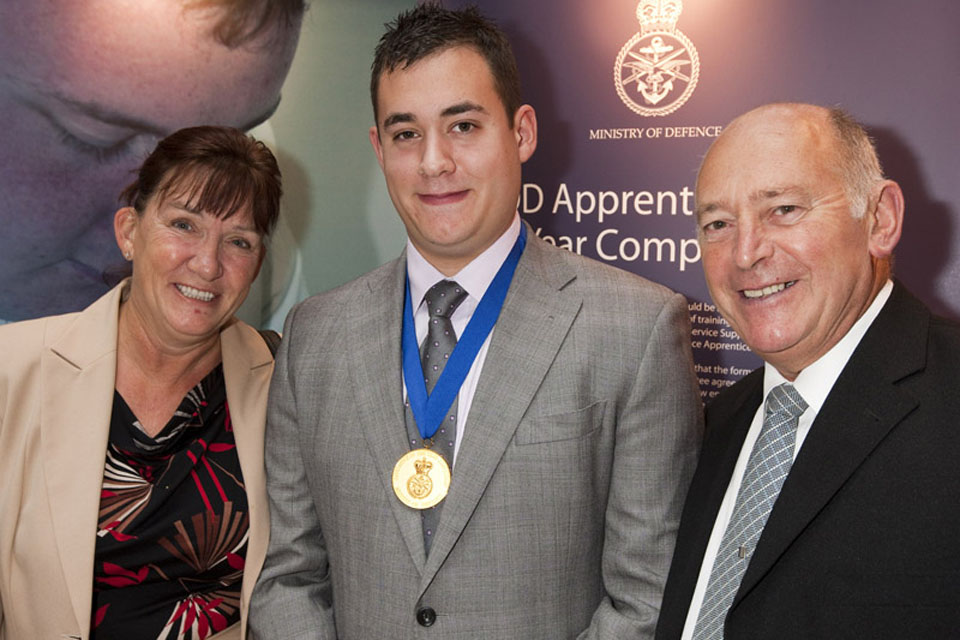 MOD Apprentice of the Year Gold Medal winner 2011, Wayne Bantick, with his proud parents
