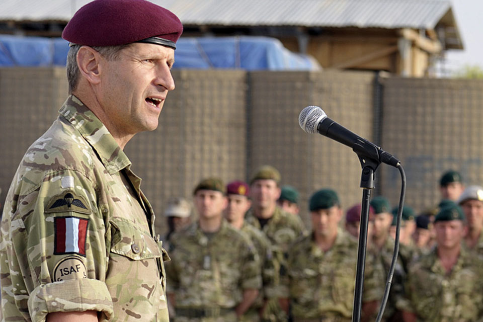 Brigadier James Chiswell addresses British troops as 16 Air Assault Brigade hands over to 3 Commando Brigade in Lashkar Gah