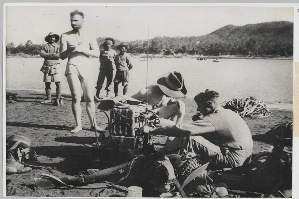 RAF signalers attached to the Chindit operations behind Japanese lines in Burma, 1943