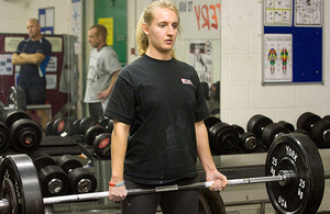 Royal Naval Reservist Able Seaman Helen Barnsley-Parson trains in HMS Collingwood's gym
