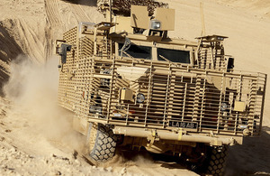 Army drivers get to grips with the new Wolfhound vehicle at Camp Bastion in Helmand province