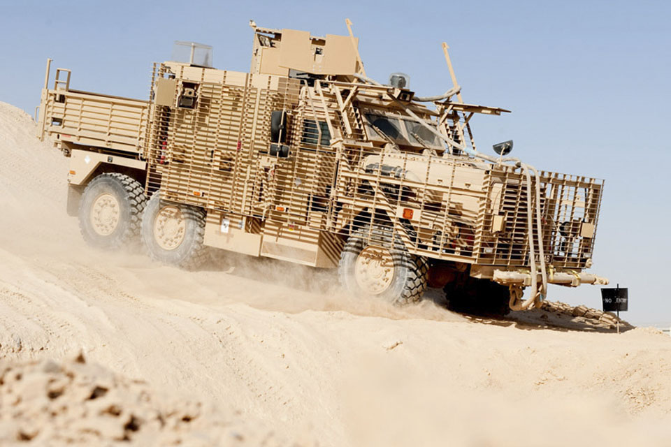 The off-road course at Camp Bastion is designed to push the vehicles and drivers to the limit in order to give troops the confidence and experience they need before deploying in the vehicles on operations